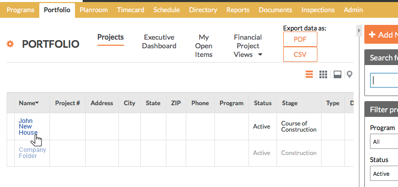 Procore dashboard