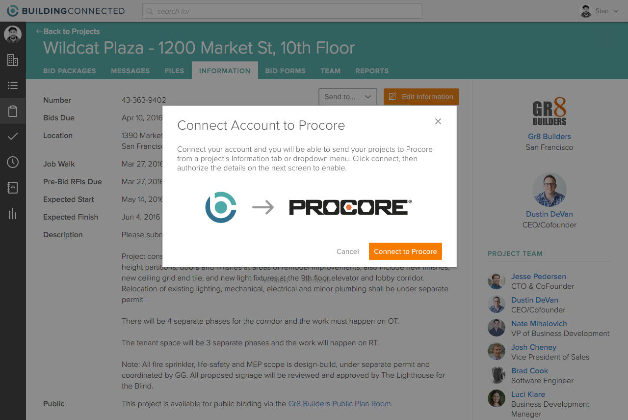 Procore integration screenshot 2