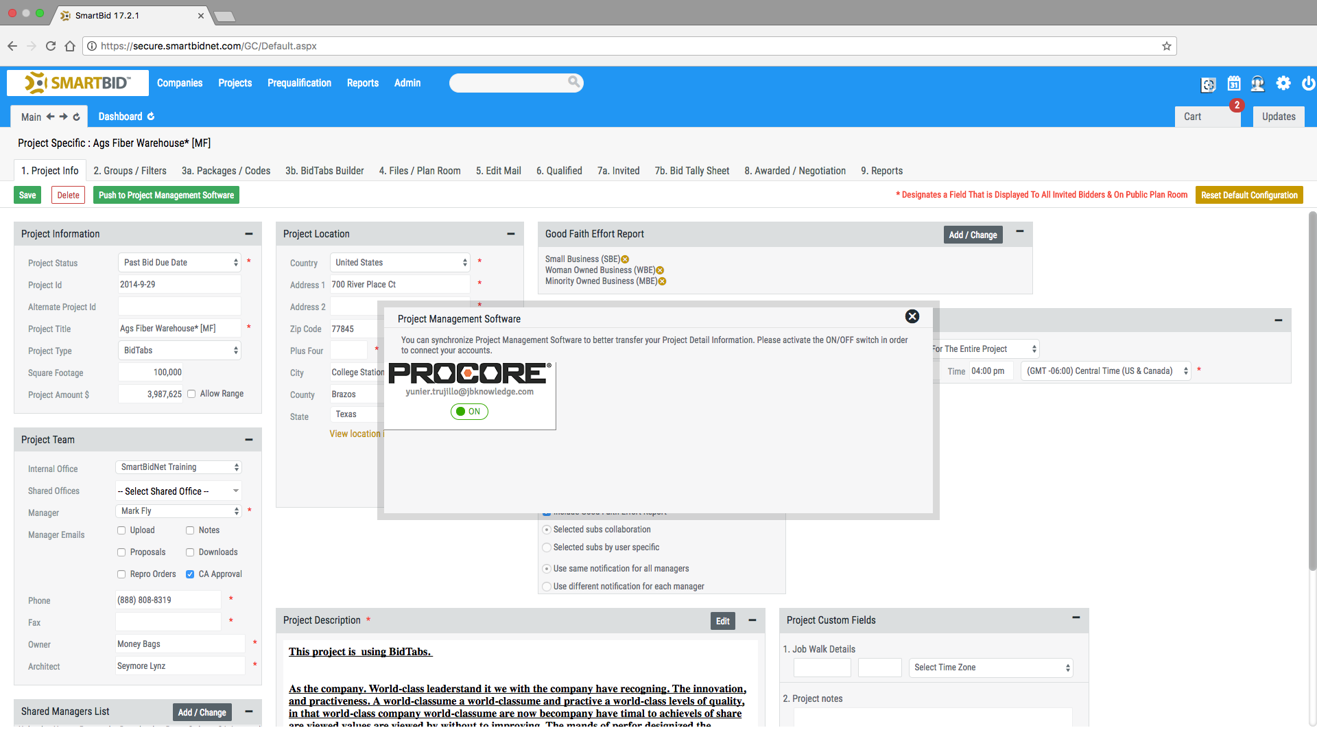 Sb screenshot procore integration 01