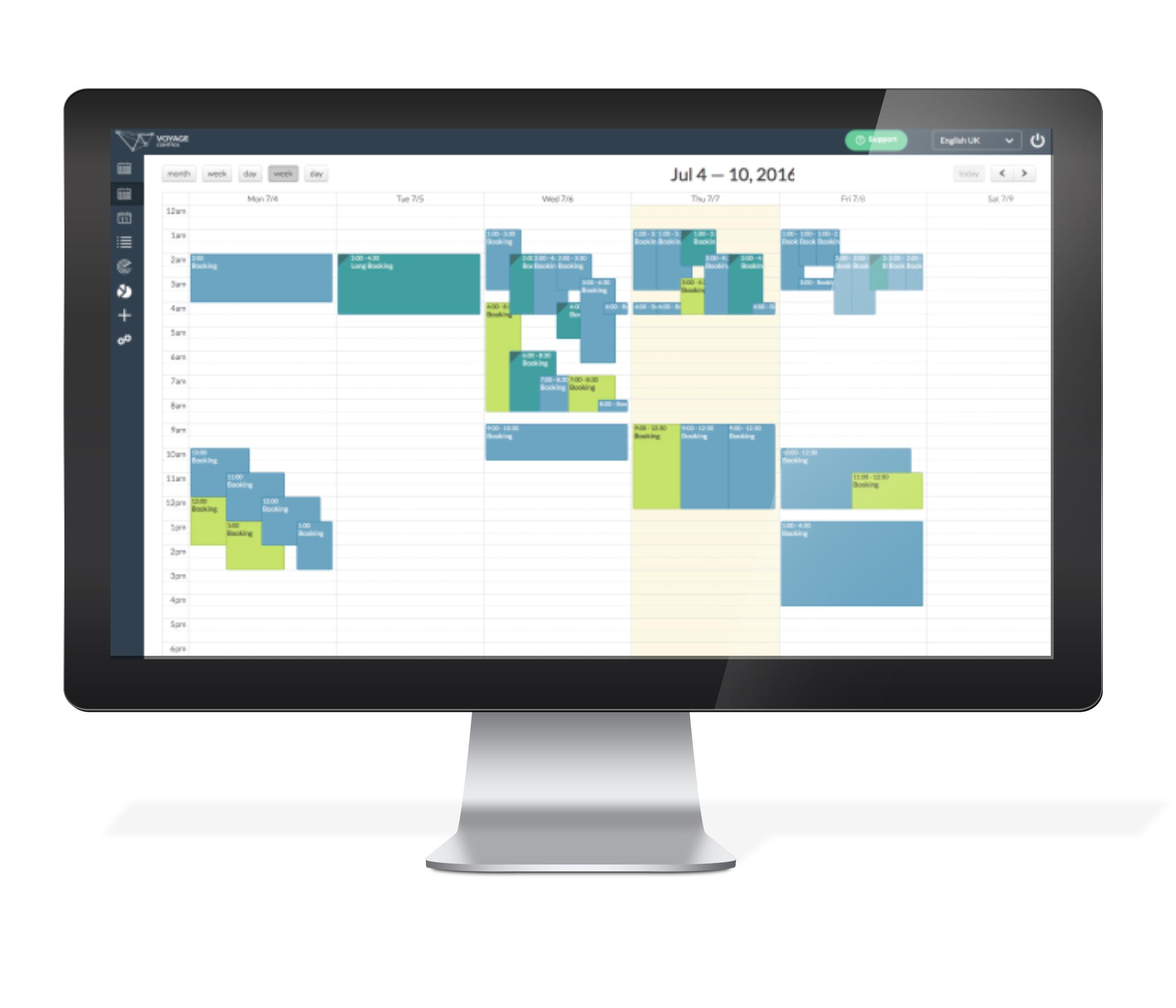 Voyage control desktop calendar screenshot