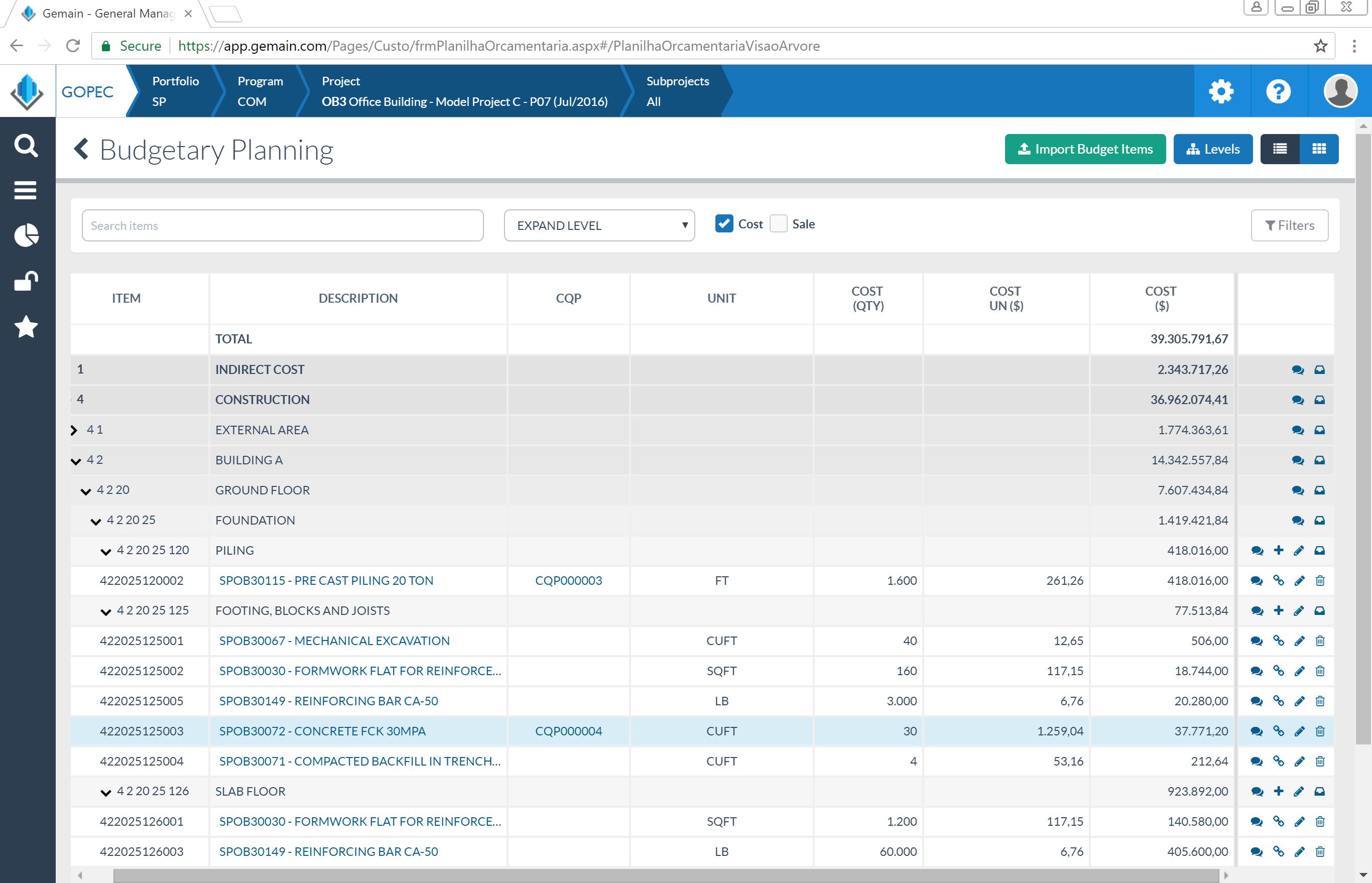 Image 1   budgetary planning screen